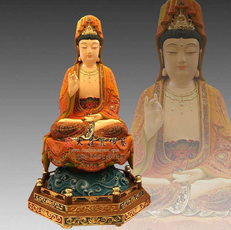 铜雕观世音菩萨彩绘塑像