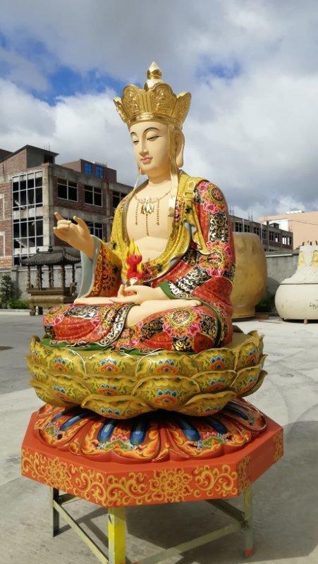 铜像彩绘描金地藏王菩萨侧面塑像