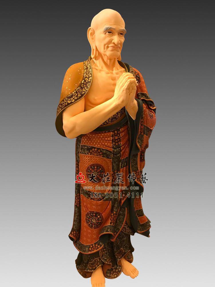 铜雕彩绘迦叶尊者塑像
