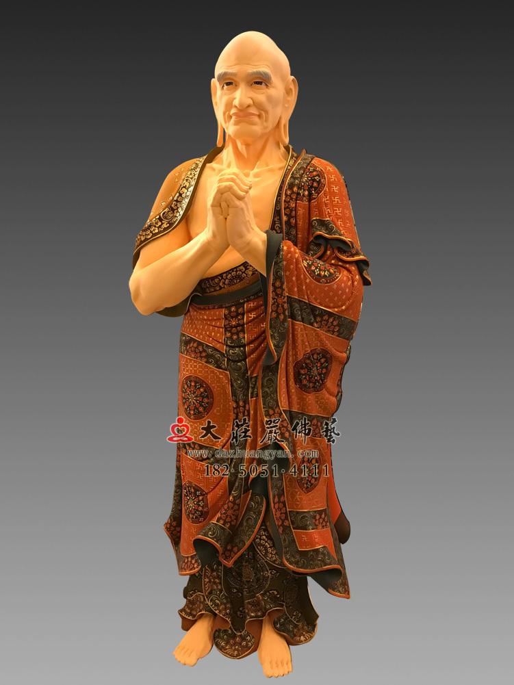 铜雕迦叶尊者彩绘侧面塑像