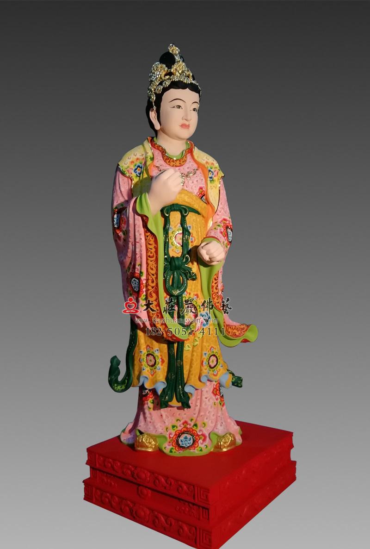 铜像彩绘描金侍女侧面塑像