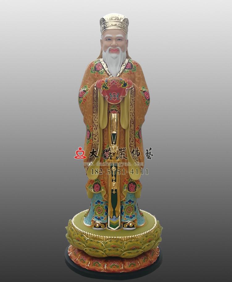 铜雕闵公彩绘描金塑像