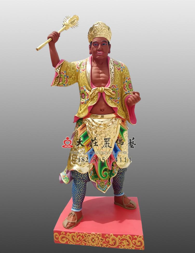 铜雕三爷彩绘描金塑像