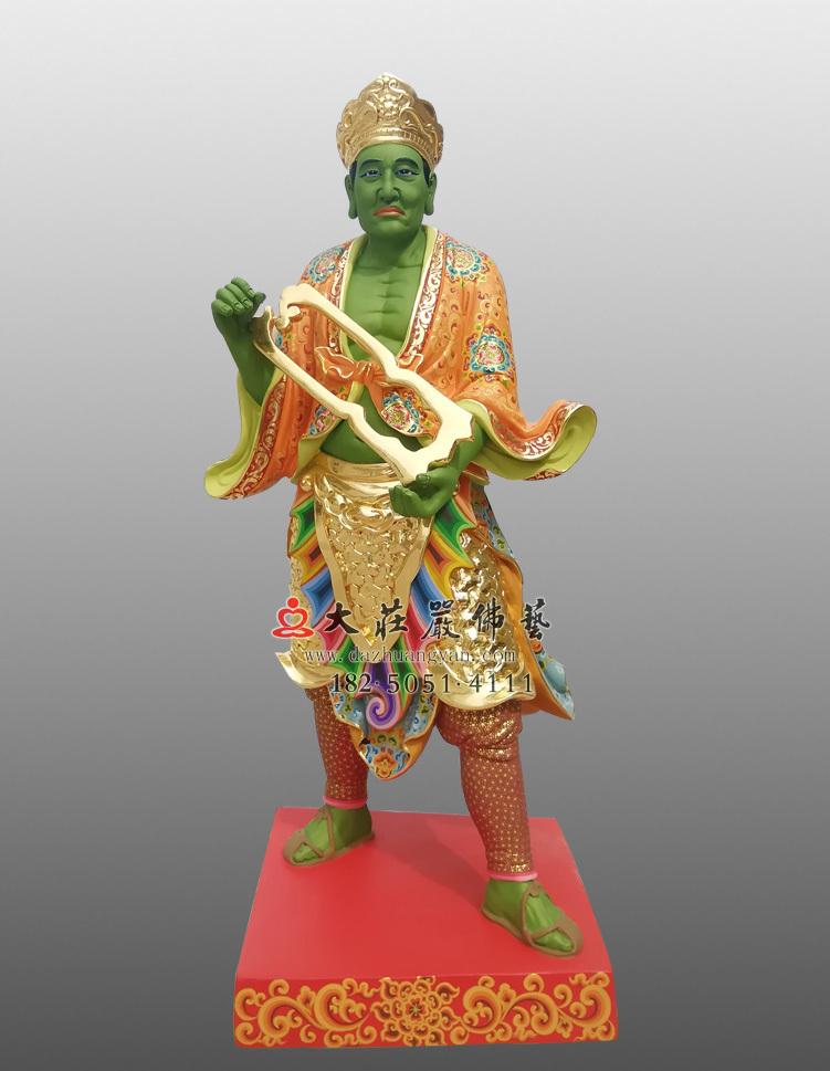 铜像彩绘描金三爷塑像