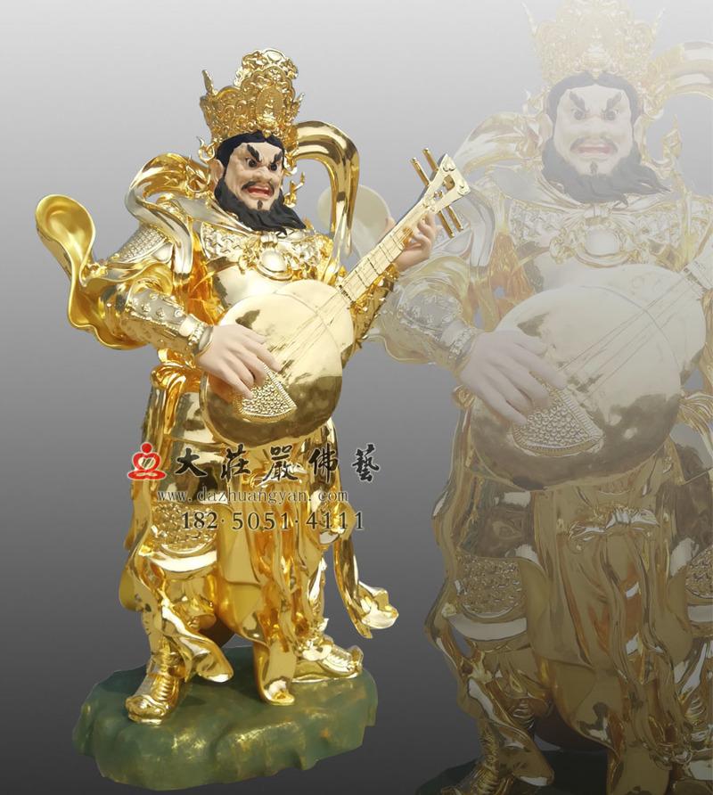 铜像贴金四大天王之侧面东方持国天王
