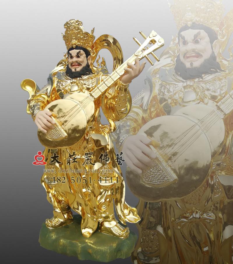 铜像四大天王之东方持国天王侧面贴金