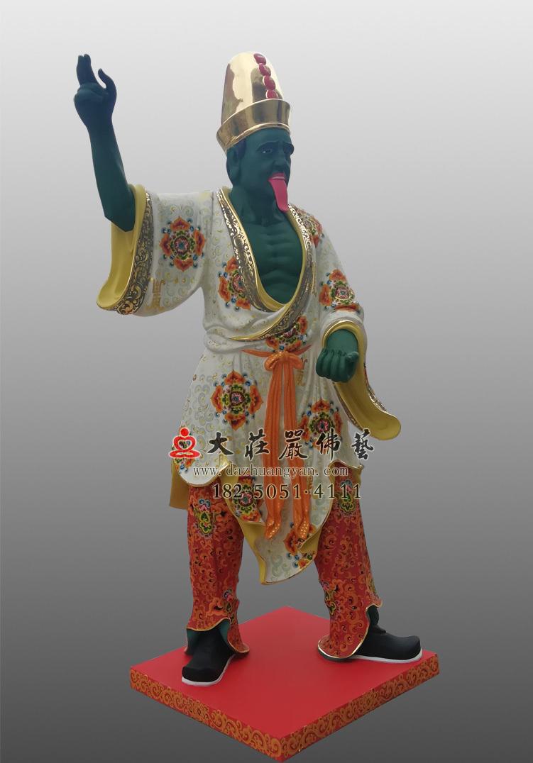 铜像彩绘描金四爷侧面塑像