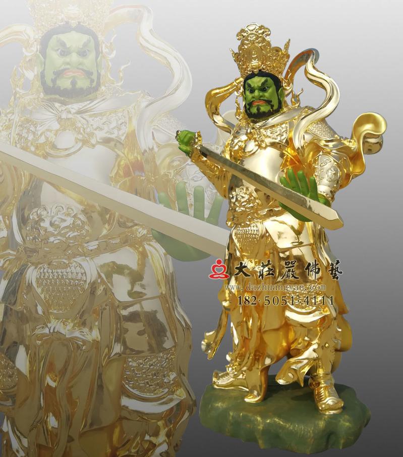 铜像四大天王之侧面南方增长天王