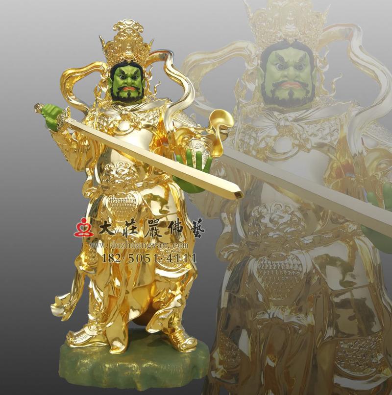 铜雕四大天王之贴金南方增长天王
