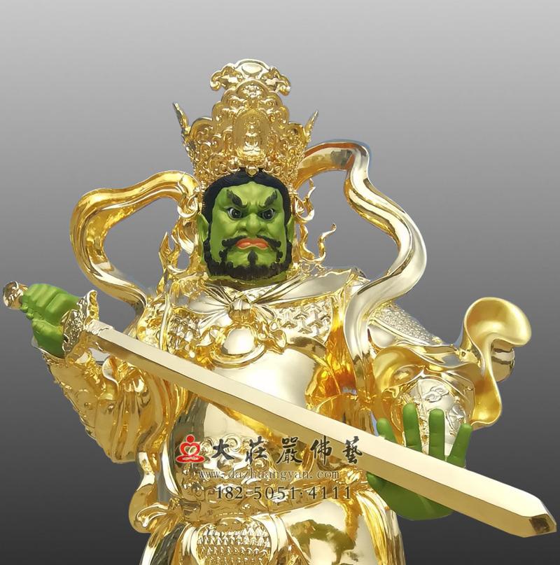 铜雕天王之贴金南方增长天王正面近照