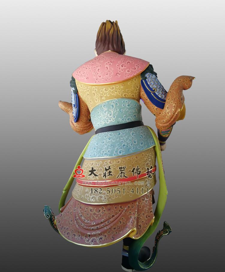 铜雕四大天王八大大眷属背部彩绘塑像