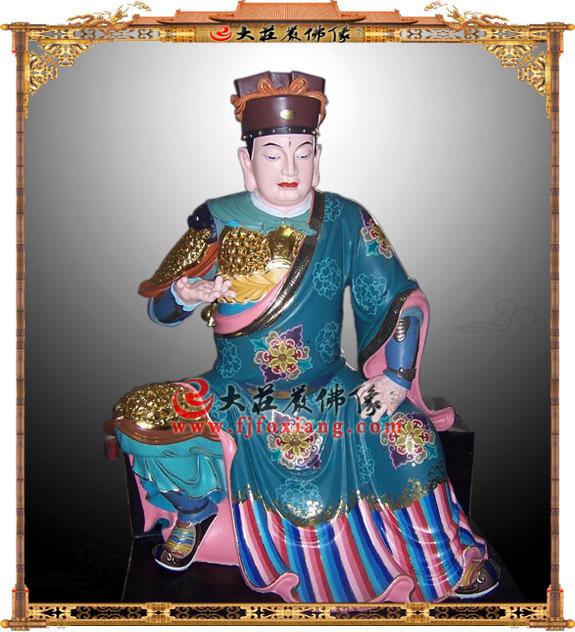 铜雕伽蓝菩萨彩绘塑像