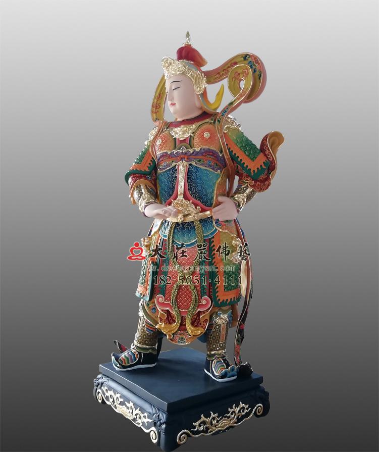彩绘韦驮菩萨侧面塑像
