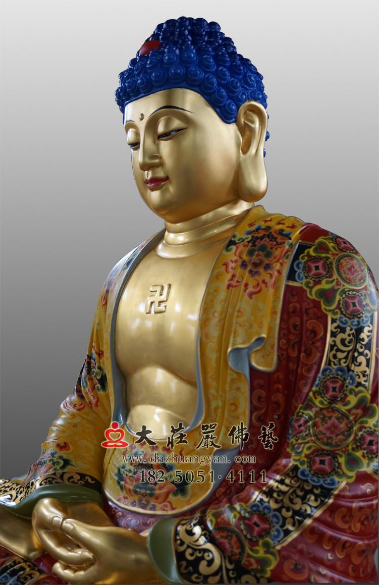 铜像释迦牟尼佛侧面近照彩绘贴金