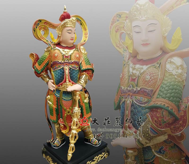 铜像韦陀菩萨侧面彩绘塑像