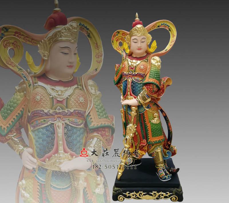 铜像彩绘描金韦陀菩萨侧面塑像