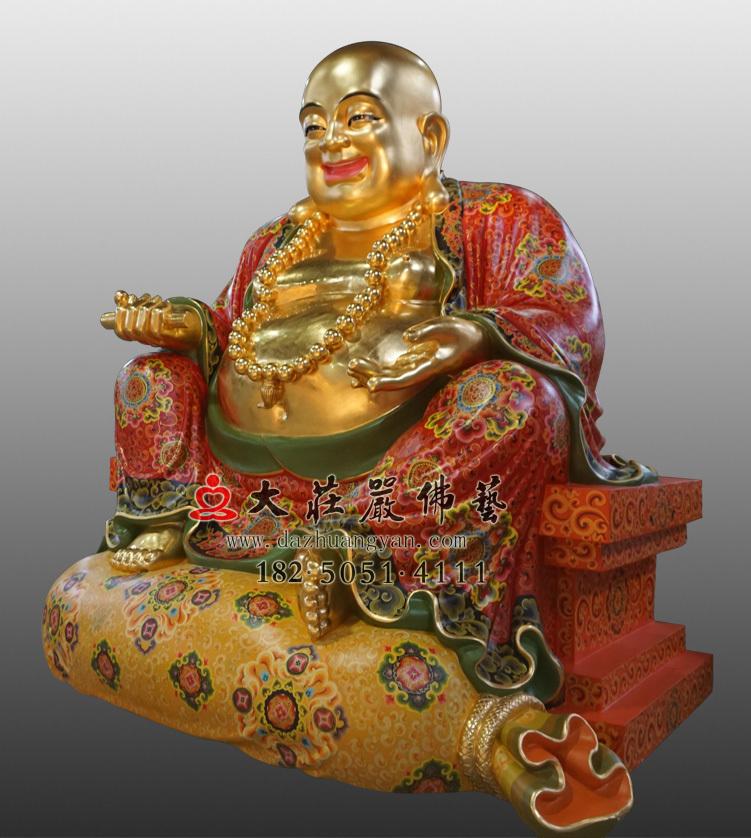 铜像弥勒佛彩绘贴金佛像