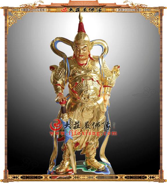 铜雕韦驮护法贴金神像