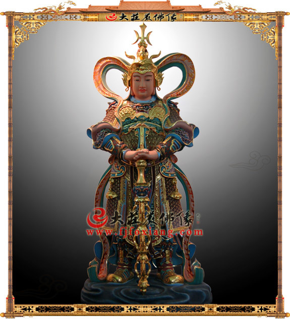 铜雕韦驮护法彩绘塑像