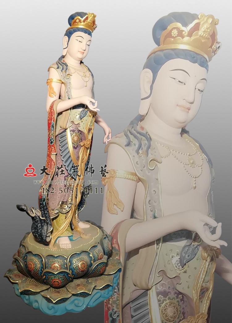 铜像八大菩萨-除盖障菩萨左侧彩绘佛像