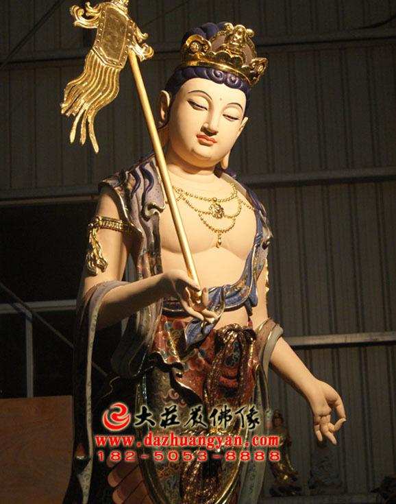 铜像八大菩萨之除盖障菩萨彩绘佛像侧面近照
