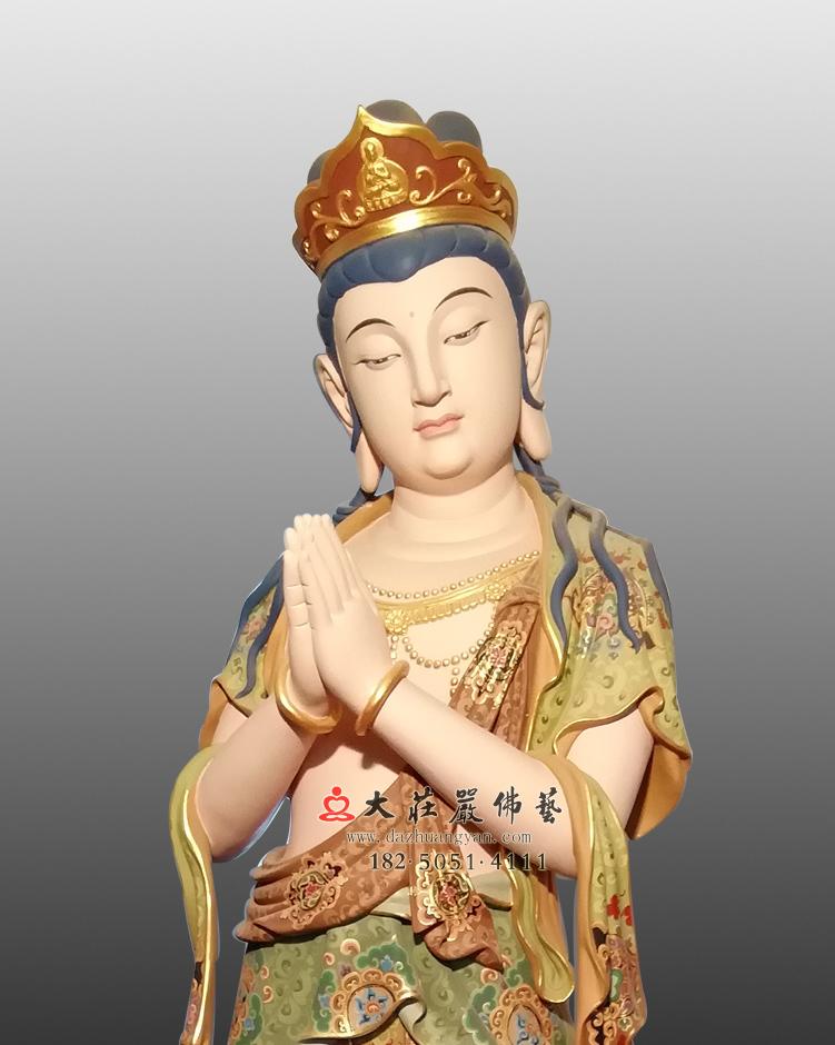 铜像八大菩萨-观世音菩萨彩绘近照彩绘佛像