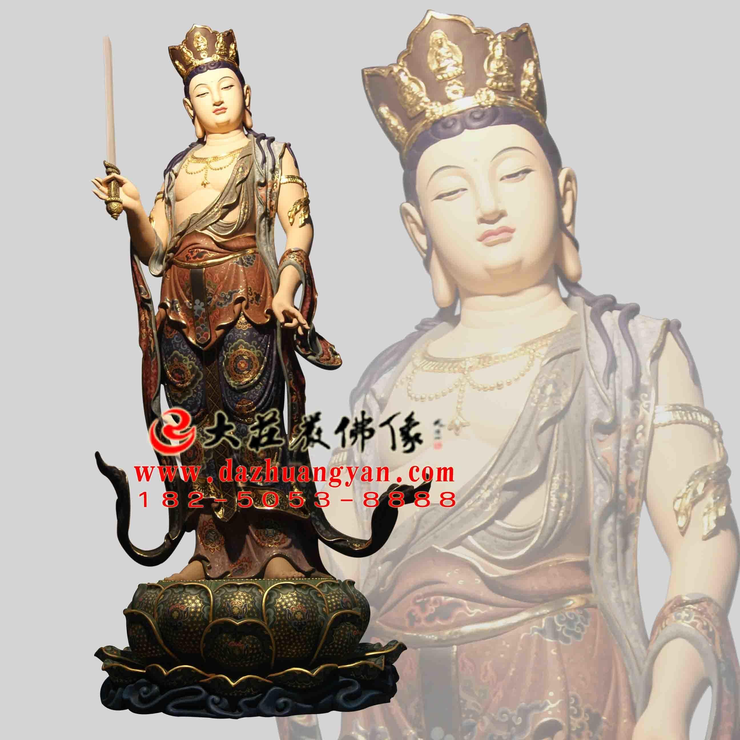 铜像八大菩萨之普贤菩萨彩绘佛像正面像