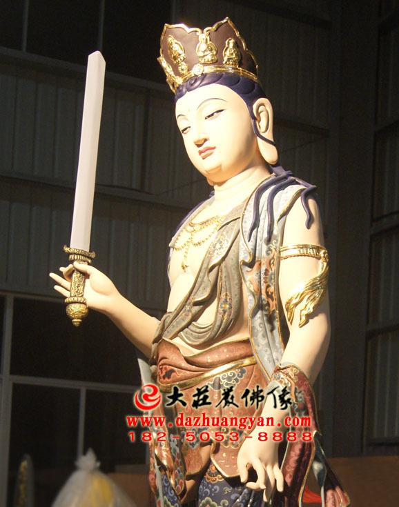 铜像八大菩萨之普贤菩萨彩绘佛像侧面近照