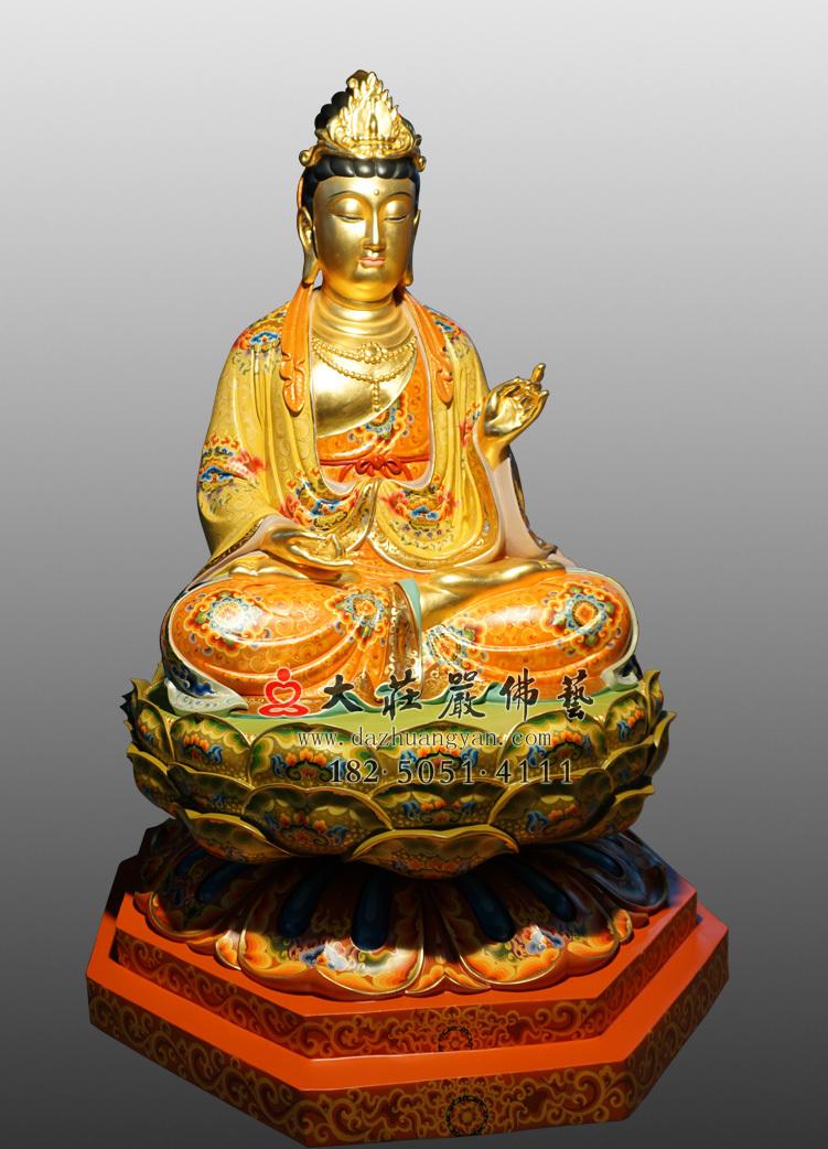 铜像大势至菩萨侧面彩绘贴金佛像