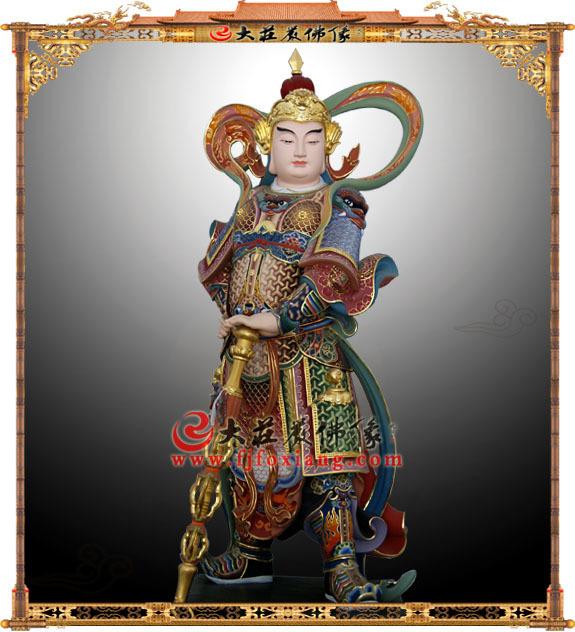 韦驮护法铜雕彩绘神像