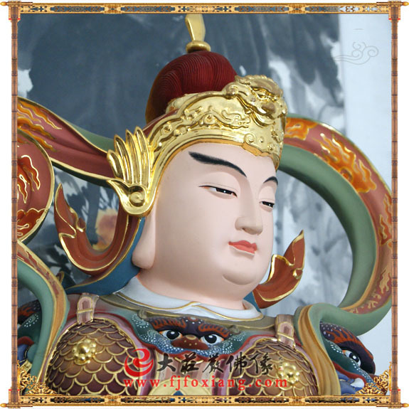 铜像彩绘韦驮护法神像