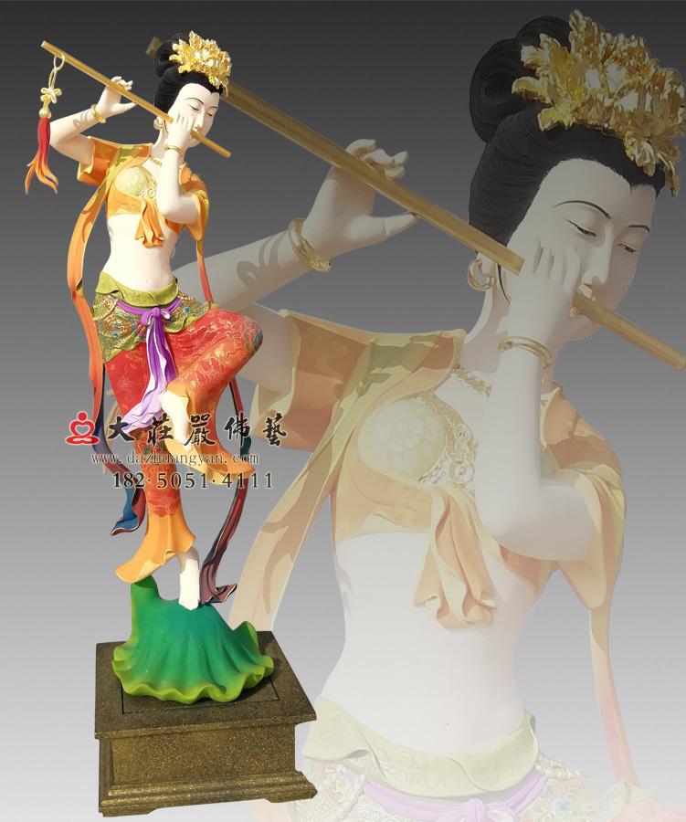 铜雕笛子伎乐天彩绘侧面神像