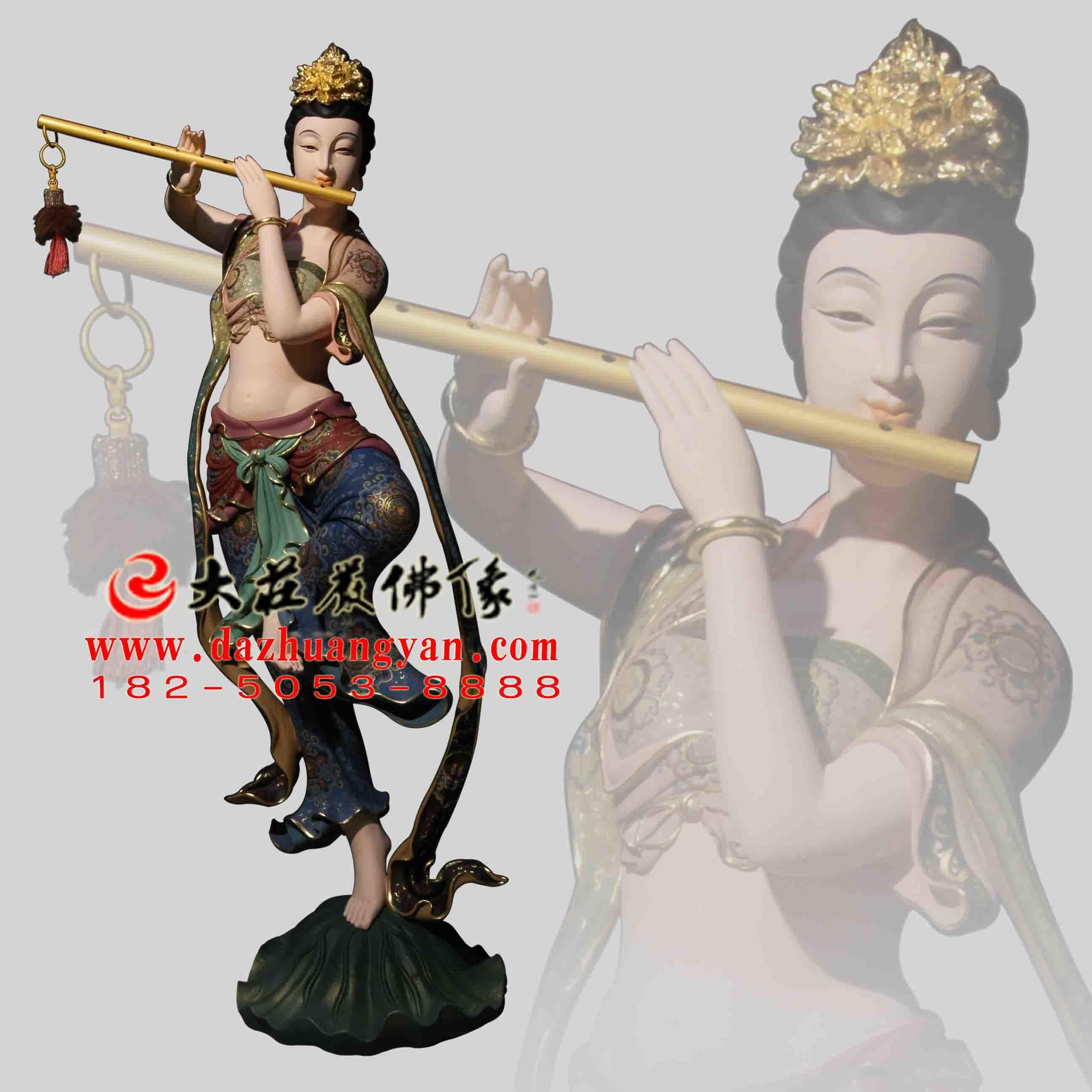 铜像笛子伎乐天彩绘神像