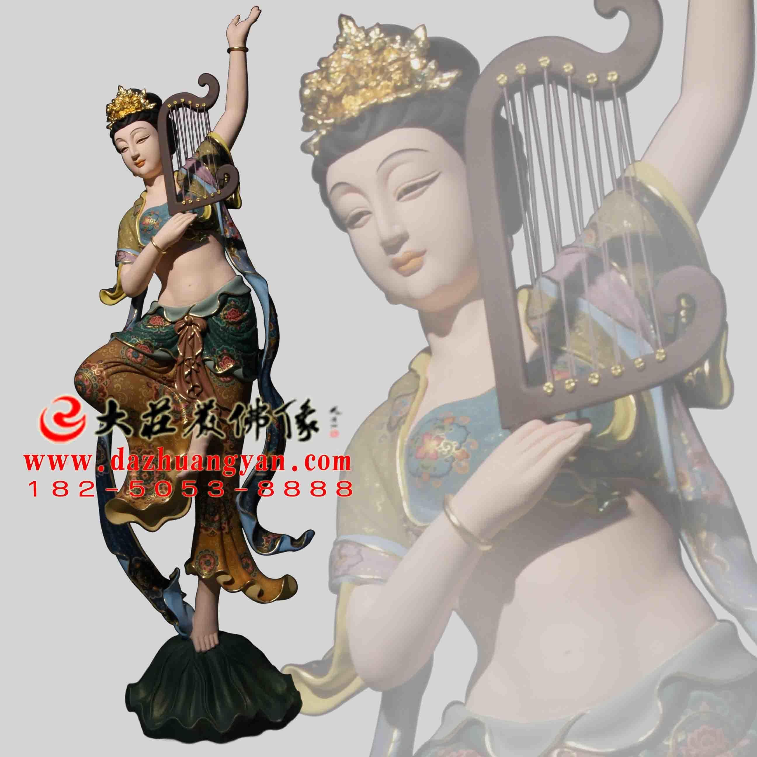 铜像箜篌伎乐天彩绘神像