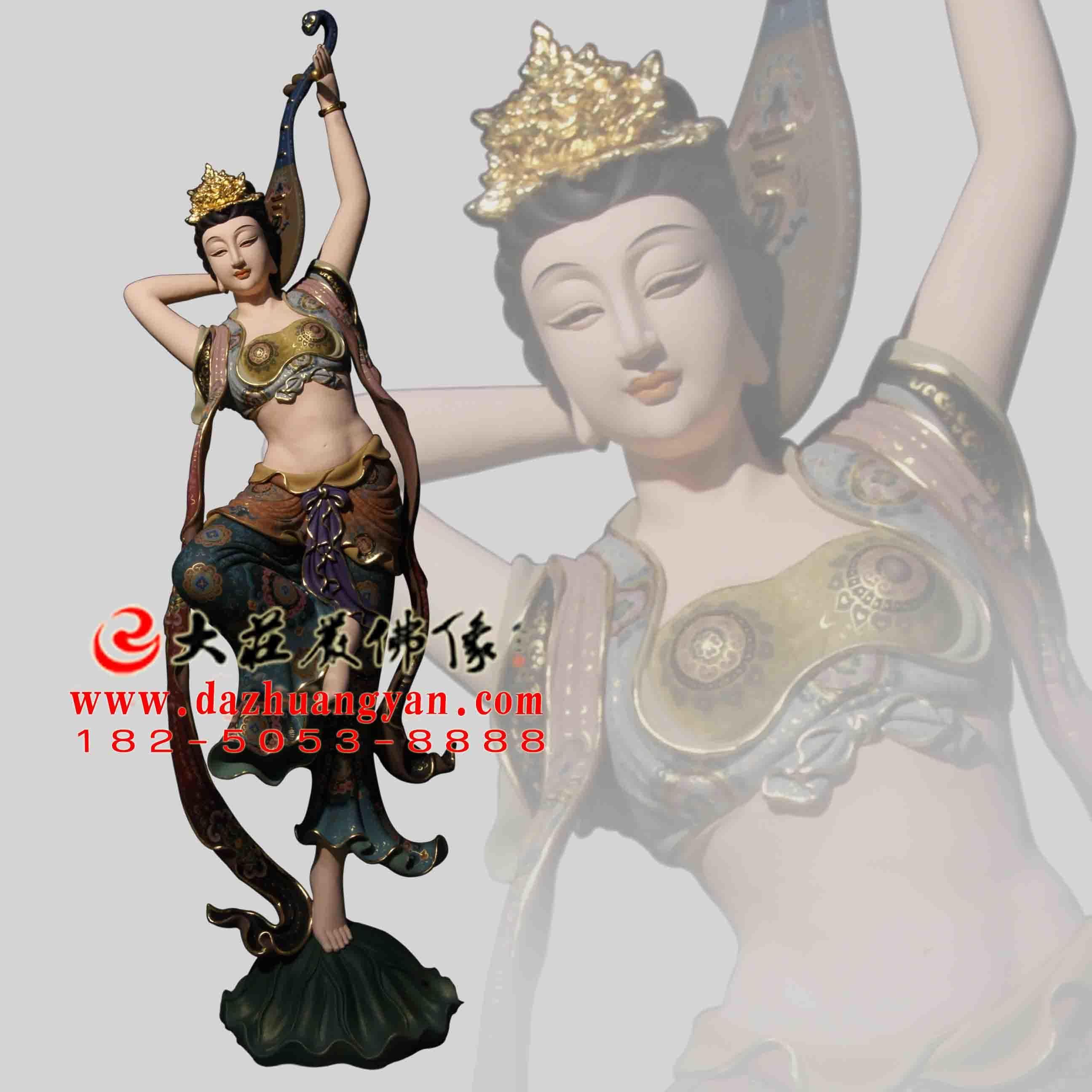 反弹琵琶伎乐天彩绘神像