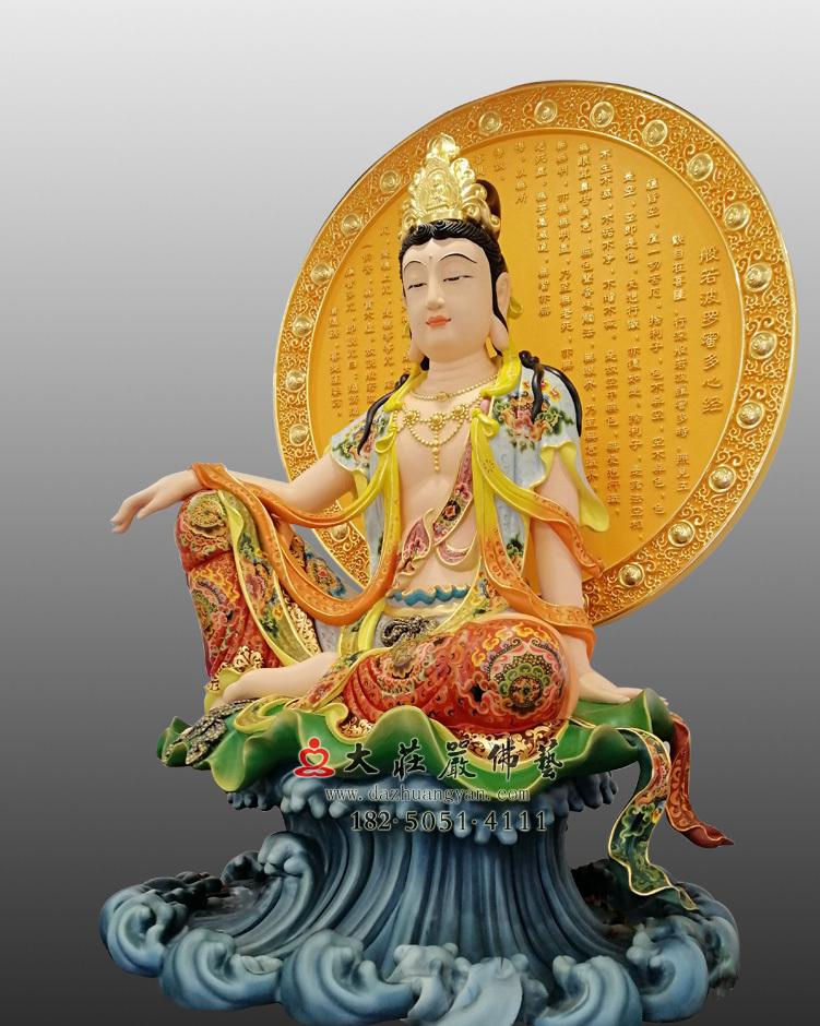 铜像心经自在观音右侧佛像