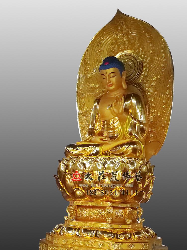 铜像药师佛右侧侧面佛像