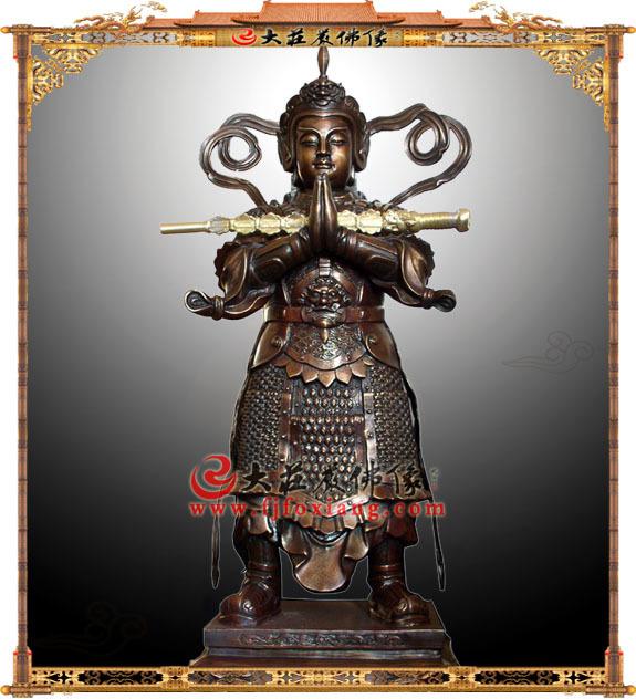 铜雕古铜色朝天韦驮