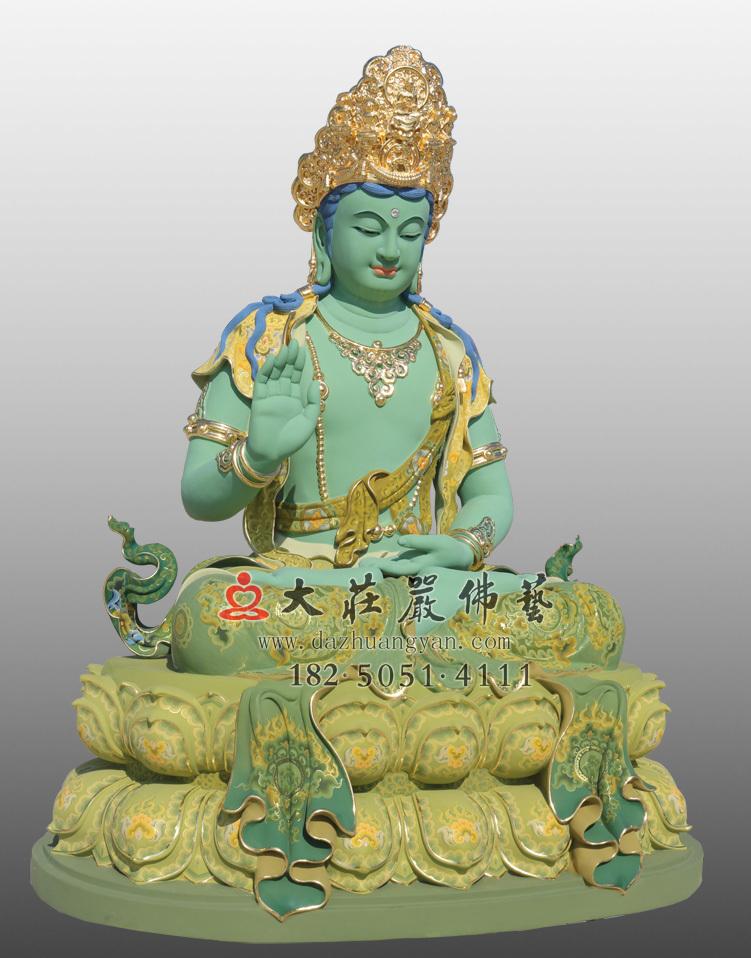铜像五方佛之不空成佛左侧彩绘贴金佛像