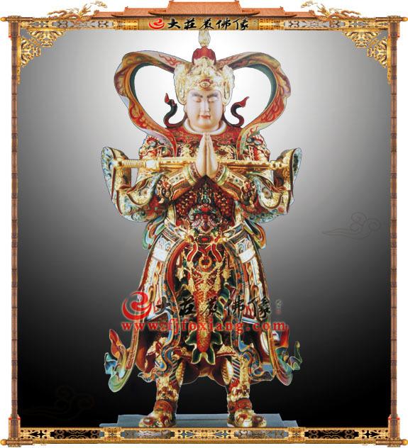 铜雕彩绘朝天韦驮佛像