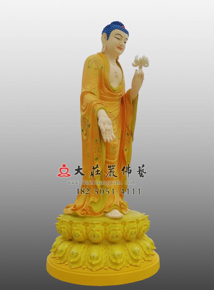 铜像接引佛侧面彩绘佛像