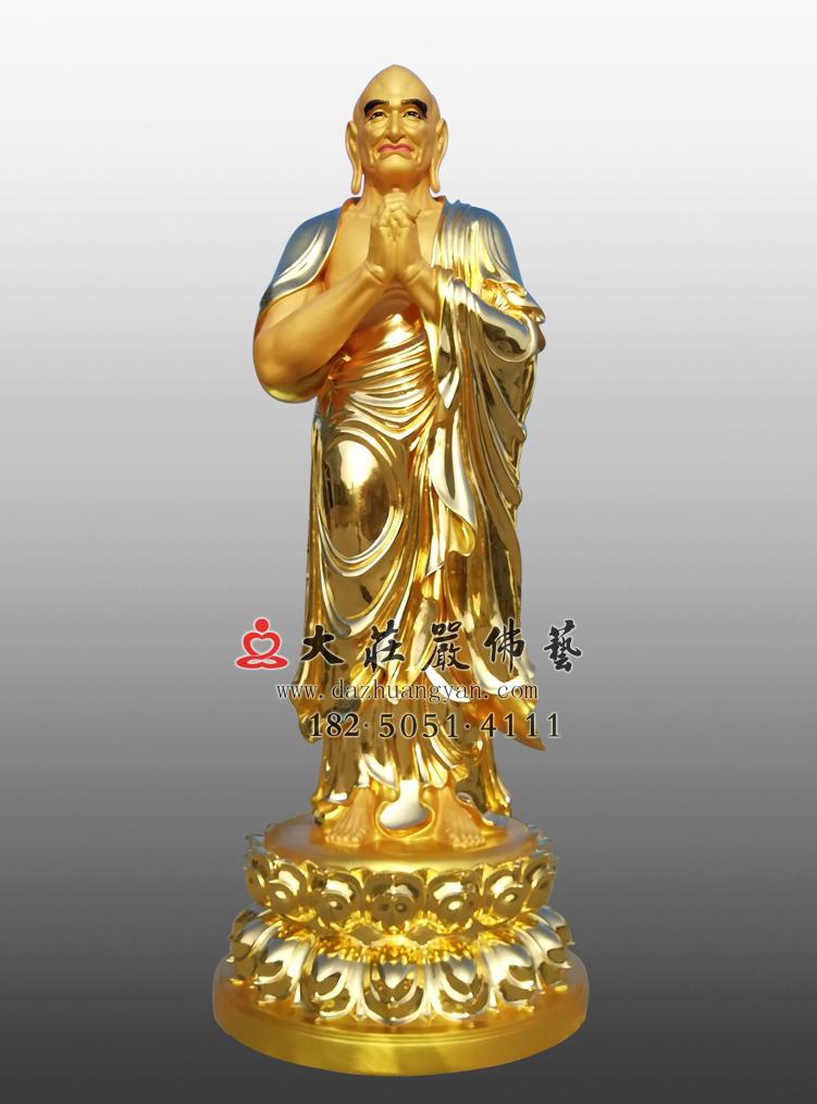 铜雕迦叶尊者贴金佛像