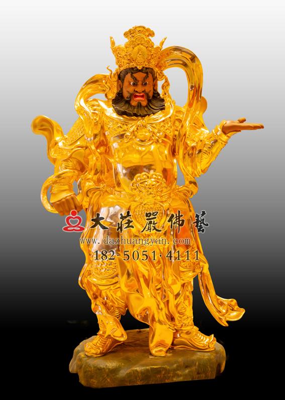 铜雕四大天王之贴金西方广目天王
