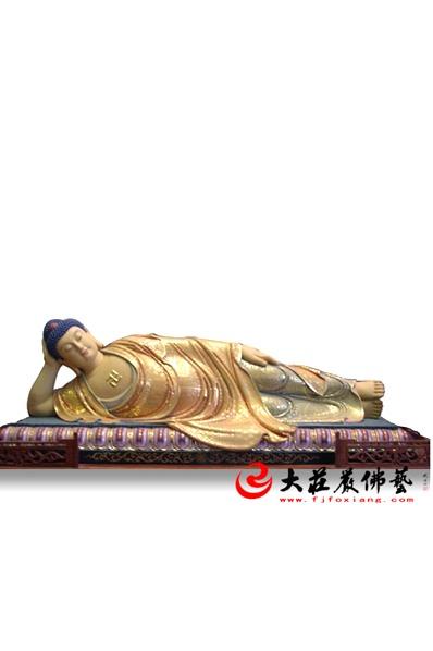 铜雕彩绘卧佛
