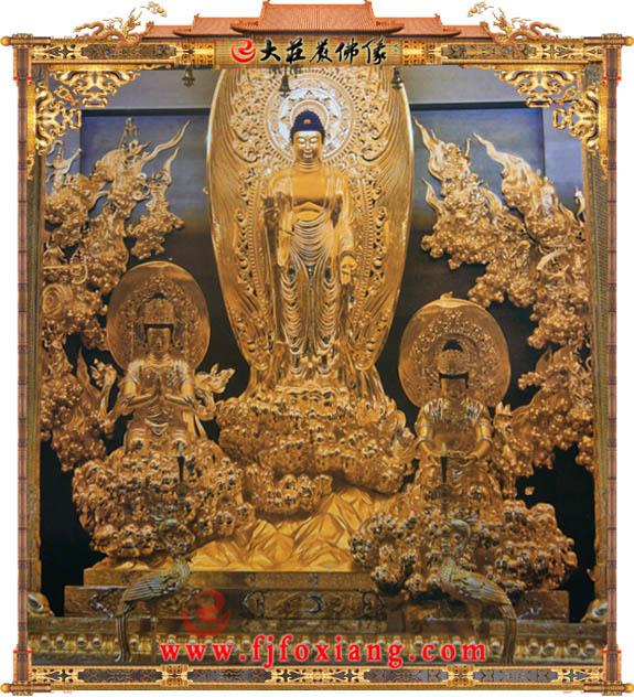 铜雕贴金西方三圣殿
