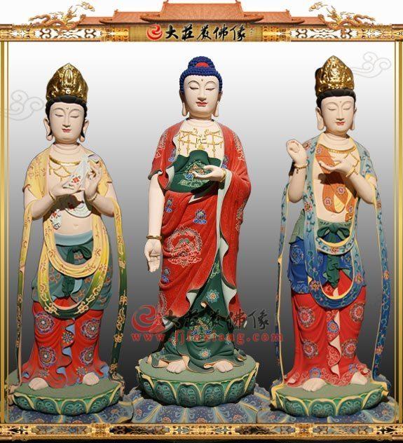 铜雕西方三圣彩绘佛像