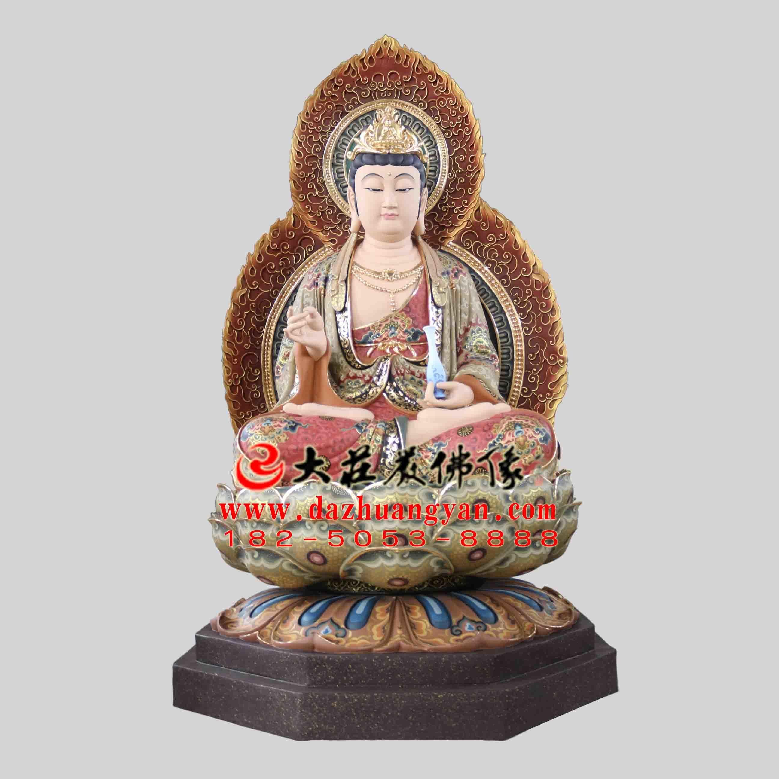 铜雕西方三圣之观音菩萨彩绘佛像