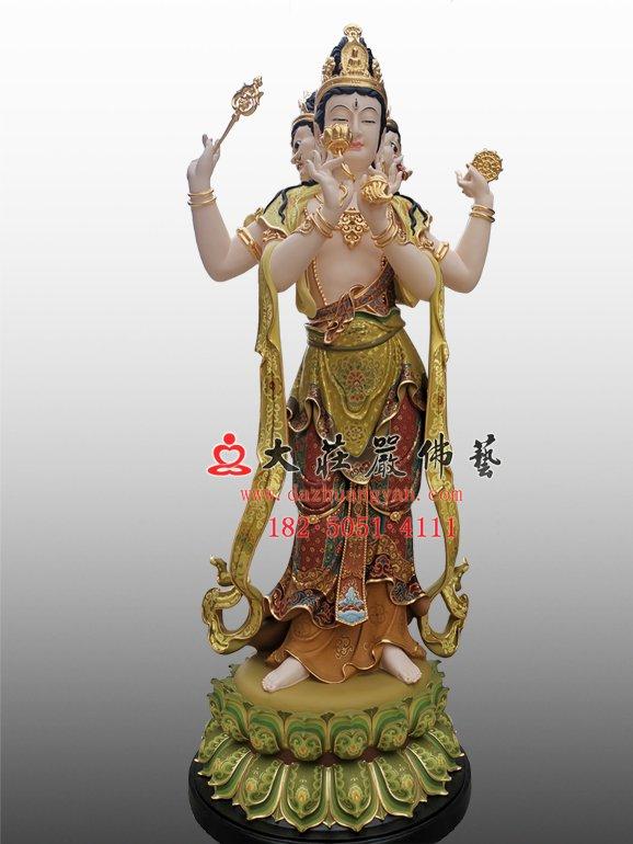 青颈观音铜佛像 青头观音塑像 三十三观音雕塑定制