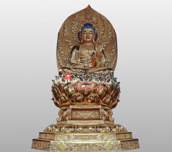 药师佛铜雕佛像 大医王佛 铜雕东方三圣佛像
