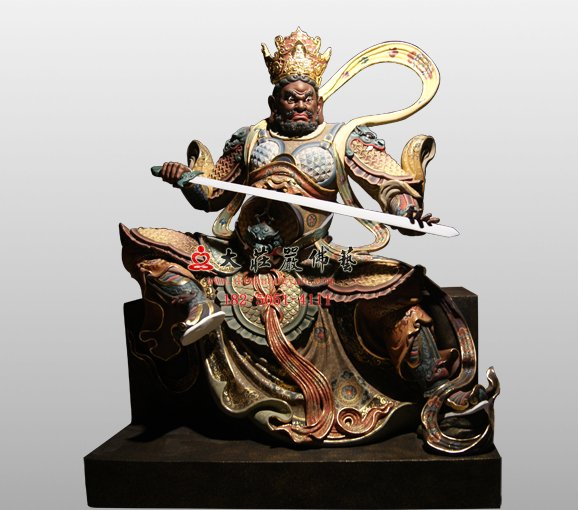 南方增长天王铜佛像 佛教护法神四大天王
